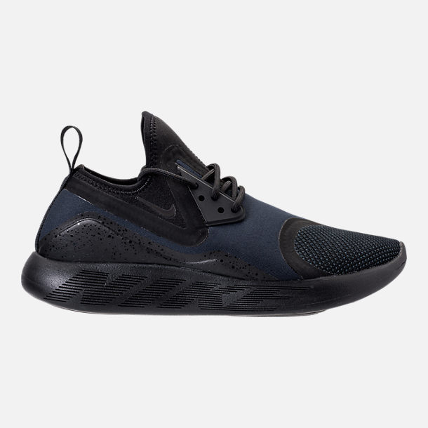 Right view of Men's Nike Lunar Charge Essential Running Shoes in Black/Dark Obsidian/Volt