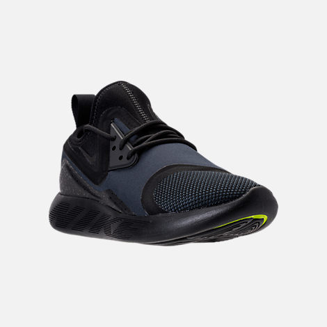 Three Quarter view of Men's Nike Lunar Charge Essential Running Shoes in Black/Dark Obsidian/Volt