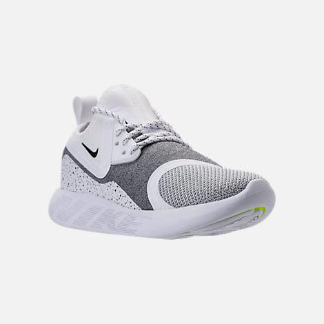 Three Quarter view of Women's Nike Lunar Charge Essential Casual Shoes in White/Black/White