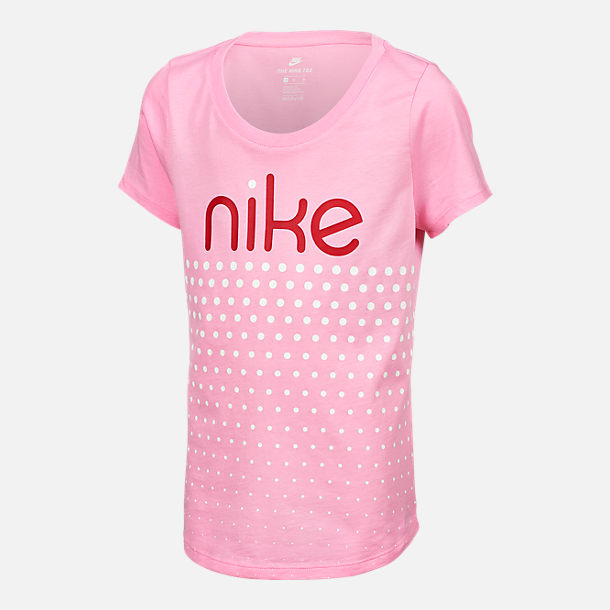 Front view of Girls' Nike Sportswear Scoop Neck T-Shirt in Pink/White