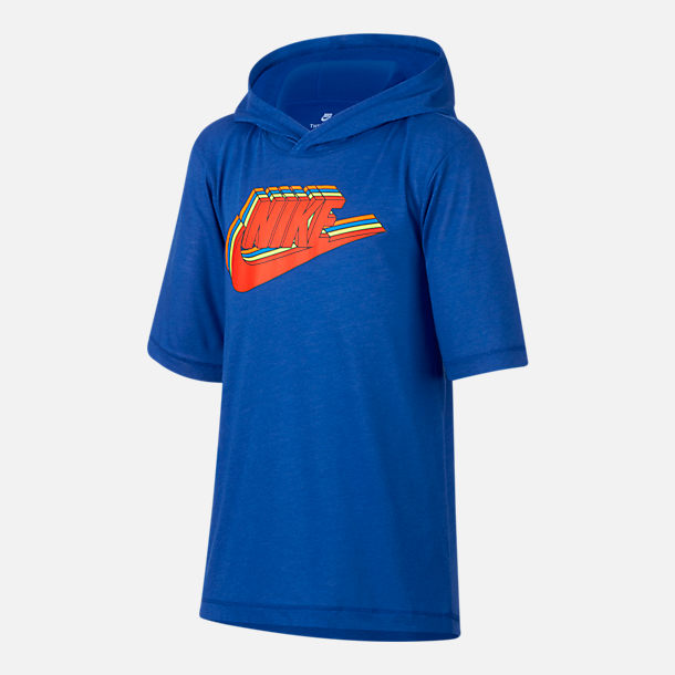 Front view of Boys' Nike Sportswear Hooded T-Shirt in Game Royal