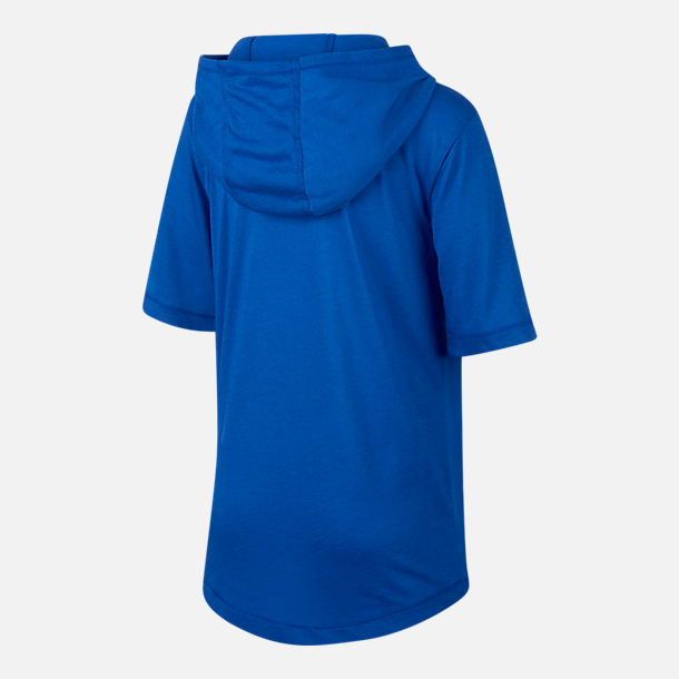 Back view of Boys' Nike Sportswear Hooded T-Shirt in Game Royal
