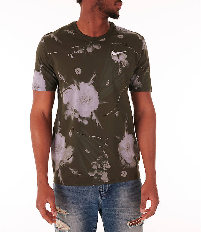 Front view of Men's Nike Dry Floral All-Over Print T-Shirt in White