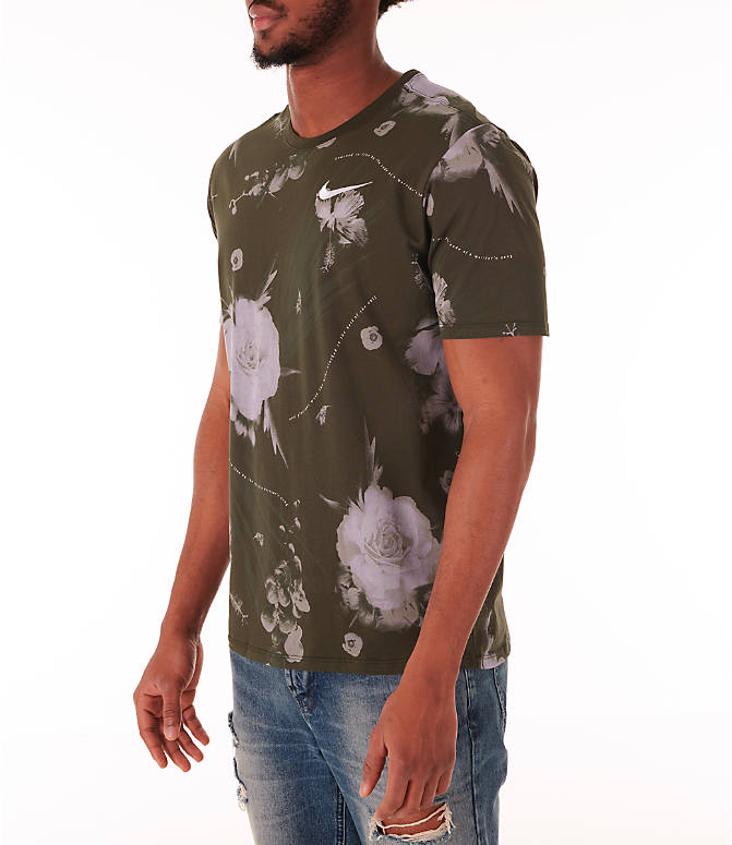 Front Three Quarter view of Men's Nike Dry Floral All-Over Print T-Shirt in White
