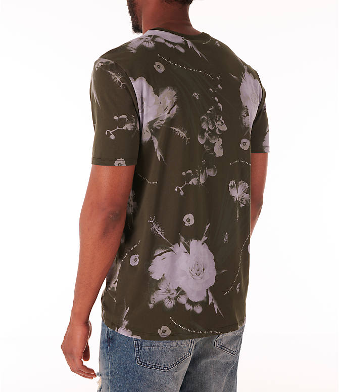 Back Left view of Men's Nike Dry Floral All-Over Print T-Shirt in White