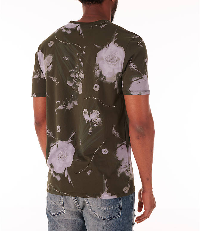 Back Right view of Men's Nike Dry Floral All-Over Print T-Shirt in White