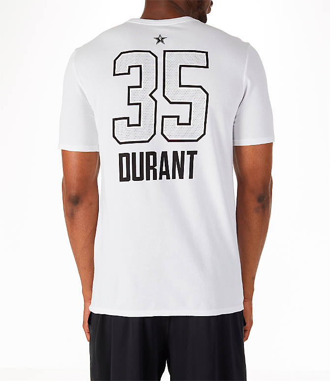 Front view of Men's Air Jordan NBA Kevin Durant All-Star Name and Number T-Shirt in White