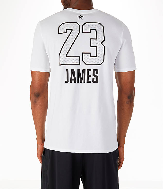 Front view of Men's Air Jordan NBA LeBron James All-Star Name and Number T-Shirt in White