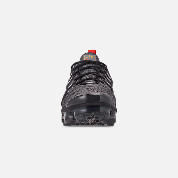 Front view of Men's Nike Air VaporMax Plus Running Shoes in Cool Grey/Team Orange/University Gold