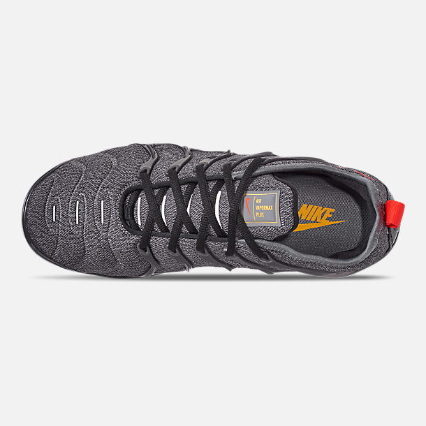 Top view of Men's Nike Air VaporMax Plus Running Shoes in Cool Grey/Team Orange/University Gold