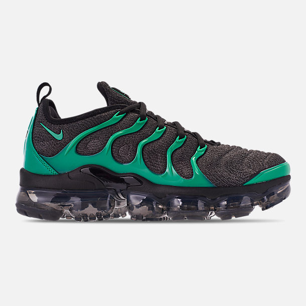 Right view of Men's Nike Air VaporMax Plus Running Shoes in Black/Clear Emerald/Cool Grey