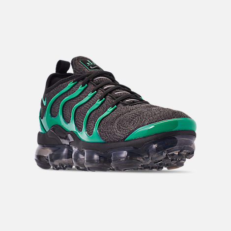 Three Quarter view of Men's Nike Air VaporMax Plus Running Shoes in Black/Clear Emerald/Cool Grey