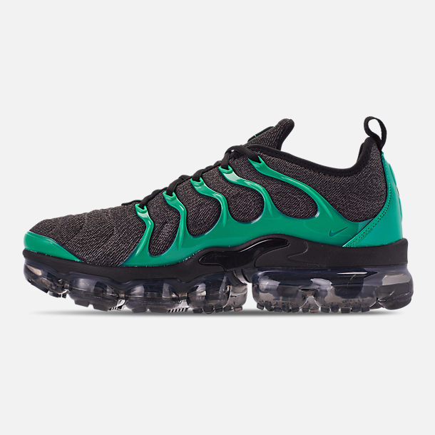 Left view of Men's Nike Air VaporMax Plus Running Shoes in Black/Clear Emerald/Cool Grey