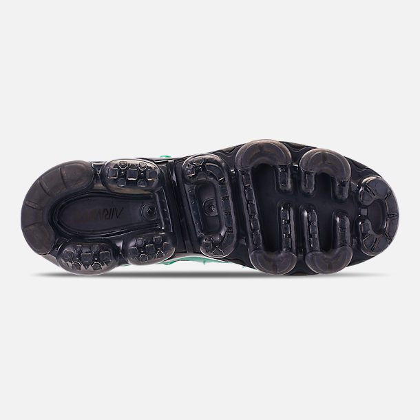 Bottom view of Men's Nike Air VaporMax Plus Running Shoes in Black/Clear Emerald/Cool Grey