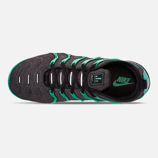 Top view of Men's Nike Air VaporMax Plus Running Shoes in Black/Clear Emerald/Cool Grey