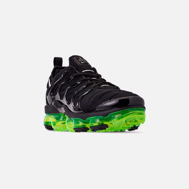 9c5e037960a Three Quarter view of Men s Nike Air VaporMax Plus Running Shoes in Black  Reflect Silver