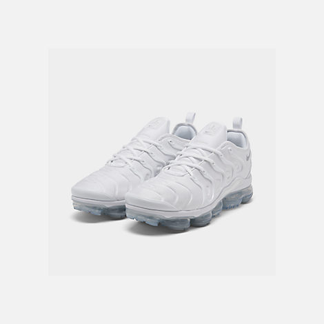 Three Quarter view of Men's Nike Air VaporMax Plus Running Shoes in White/Pure Platinum