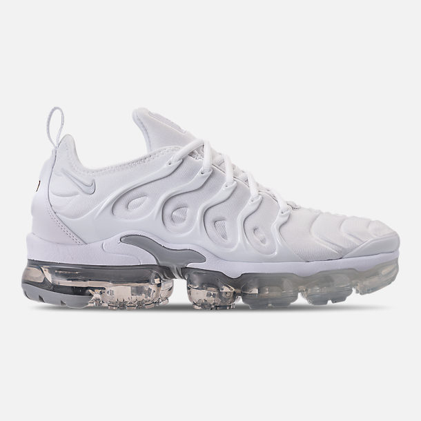 Right view of Men's Nike Air VaporMax Plus Running Shoes in White/Pure Platinum/Wolf Grey