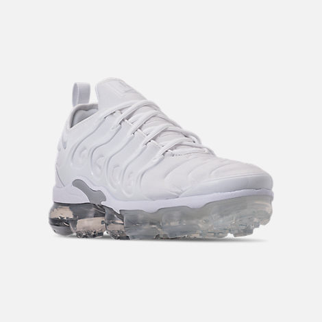 Three Quarter view of Men's Nike Air VaporMax Plus Running Shoes in White/Pure Platinum/Wolf Grey