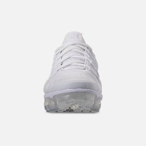 Front view of Men's Nike Air VaporMax Plus Running Shoes in White/Pure Platinum/Wolf Grey