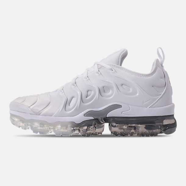 Left view of Men's Nike Air VaporMax Plus Running Shoes in White/Pure Platinum/Wolf Grey