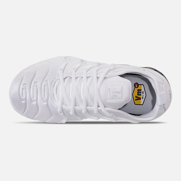 Top view of Men's Nike Air VaporMax Plus Running Shoes in White/Pure Platinum/Wolf Grey