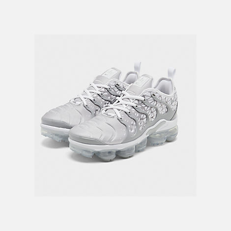 Three Quarter view of Men's Nike Air VaporMax Plus Running Shoes in White/Metallic Silver/Wolf Grey