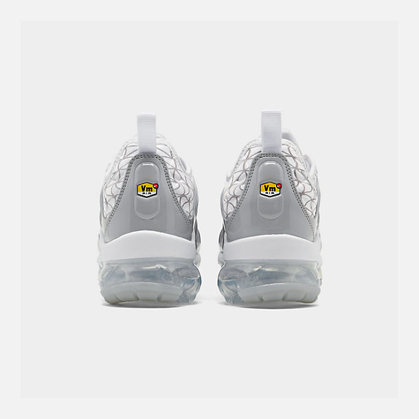 Left view of Men's Nike Air VaporMax Plus Running Shoes in White/Metallic Silver/Wolf Grey