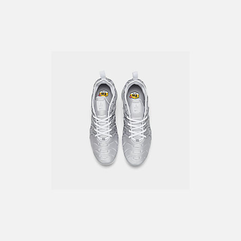 Back view of Men's Nike Air VaporMax Plus Running Shoes in White/Metallic Silver/Wolf Grey
