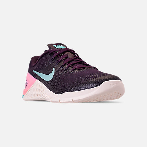 Three Quarter view of Women s Nike Metcon 4 Training Shoes in Burgundy Ash  Aurora Green c911138e2
