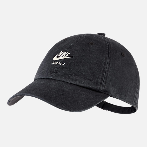 Front view of Women's Nike Sportswear Heritage86 Adjustable Back Hat in Black/Wolf Grey