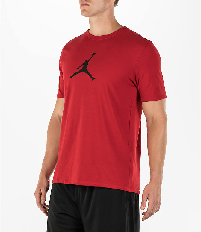 Front Three Quarter view of Men's Air Jordan Dry 23/7 Basketball T-Shirt in Gym Red