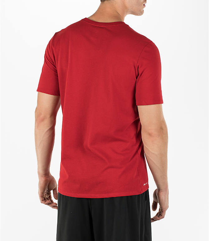 Back Right view of Men's Air Jordan Dry 23/7 Basketball T-Shirt in Gym Red