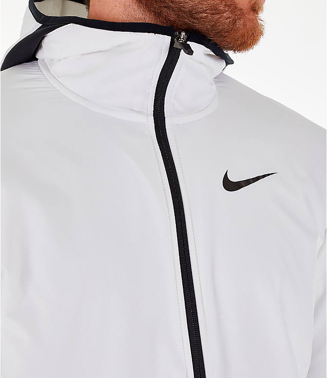 Detail 2 view of Men's Nike Therma Basketball Full-Zip Hoodie in White/Black