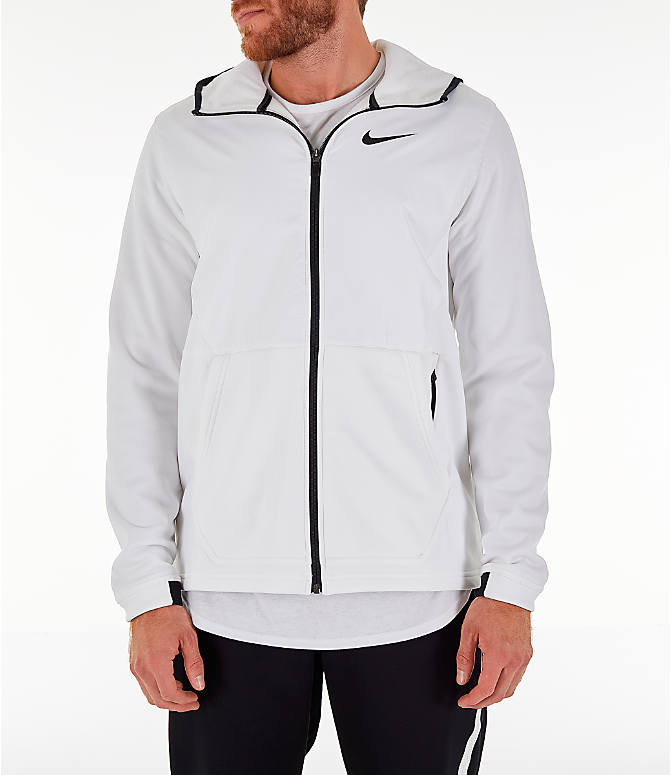 Front view of Men's Nike Therma Basketball Full-Zip Hoodie in White/Black