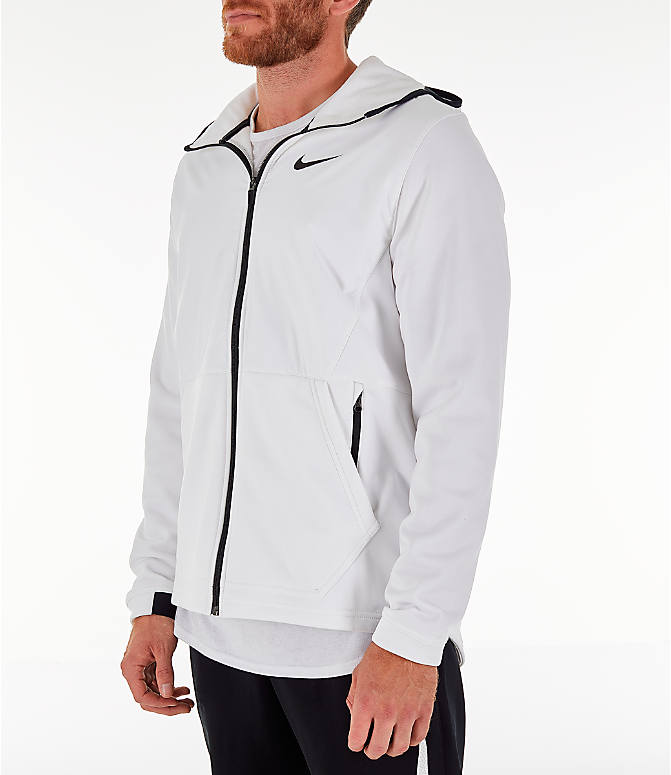 Front Three Quarter view of Men's Nike Therma Basketball Full-Zip Hoodie in White/Black