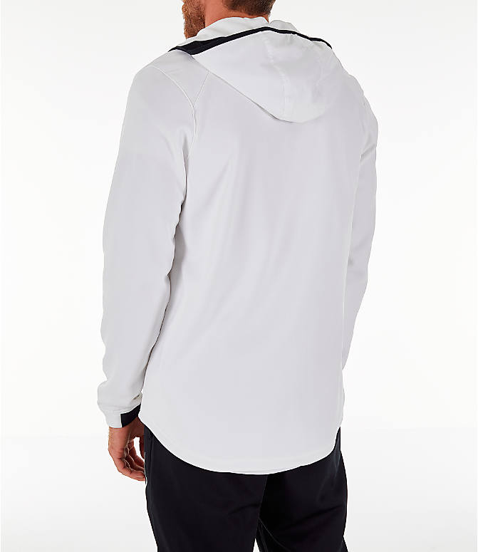 Back Left view of Men's Nike Therma Basketball Full-Zip Hoodie in White/Black