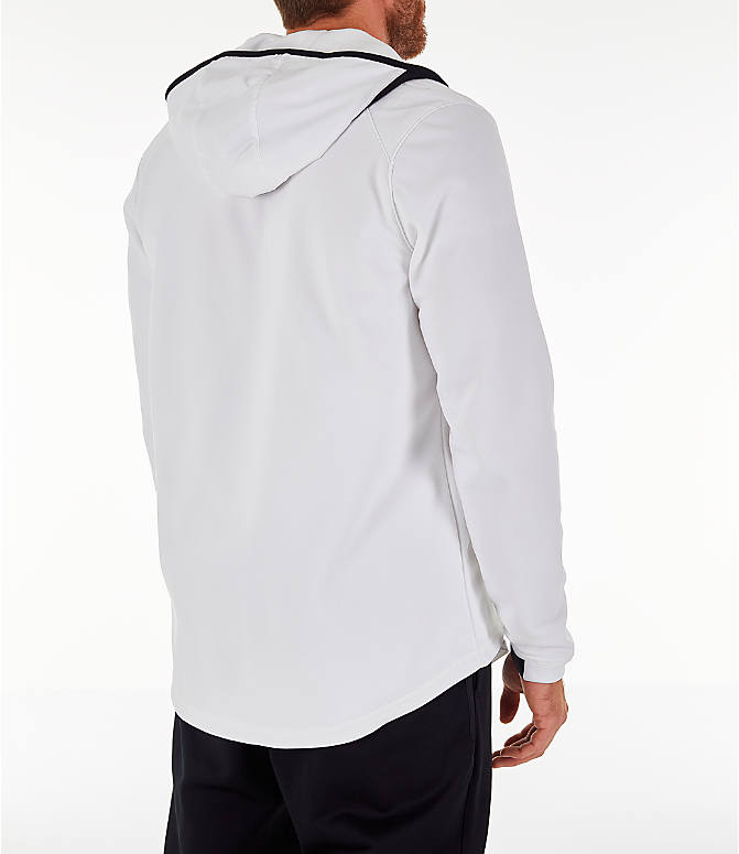 Back Right view of Men's Nike Therma Basketball Full-Zip Hoodie in White/Black