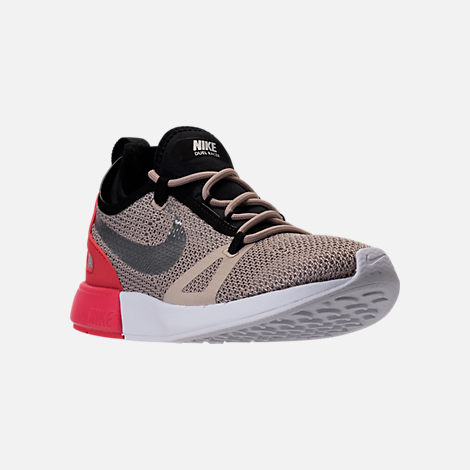 Three Quarter view of Women's Nike Duel Racer Casual Shoes in String/Chrome  White/