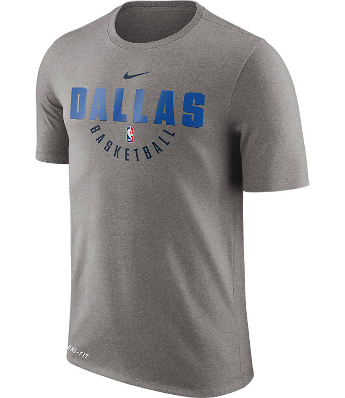 Front view of Men's Nike Dallas Mavericks NBA Dry Practice T-Shirt in Dark Grey Heather