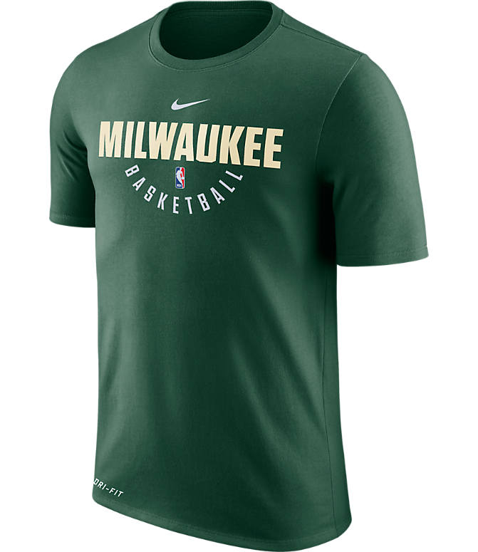 Front view of Men's Nike Milwaukee Bucks NBA Dry Practice T-Shirt in Fir
