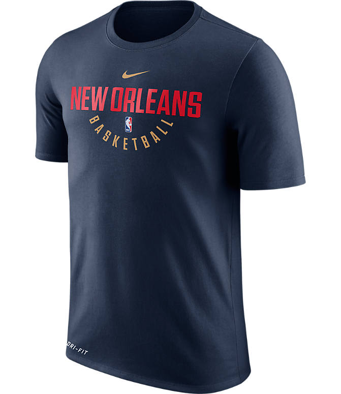 Front view of Men's Nike New Orleans Pelicans NBA Dry Practice T-Shirt in College Navy