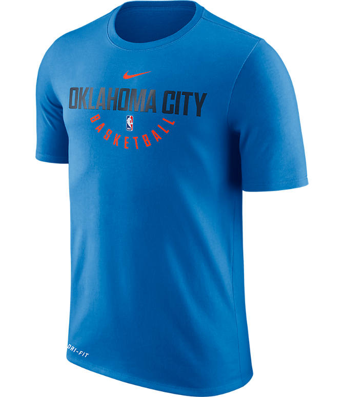 Front view of Men's Nike Oklahoma City Thunder NBA Dry Practice T-Shirt in Signal Blue