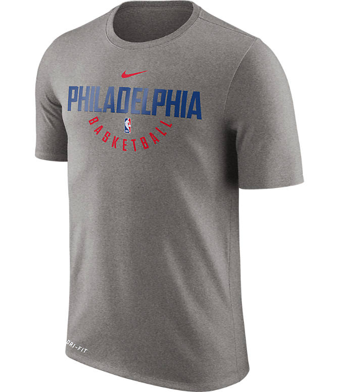 Front view of Men's Nike Philadelphia 76ers NBA Dry Practice T-Shirt in Dark Grey Heather