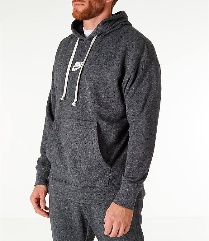 Front Three Quarter view of Men's Nike Sportswear Heritage Club Pullover Hoodie in Heather Grey