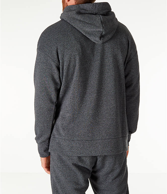Back Left view of Men's Nike Sportswear Heritage Club Pullover Hoodie in Heather Grey