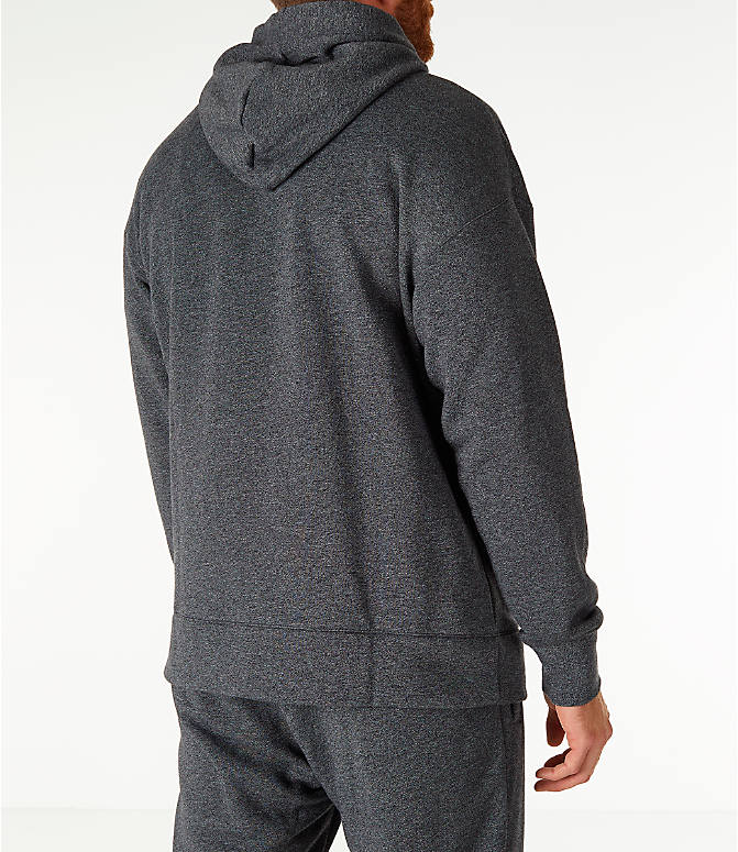 Back Right view of Men's Nike Sportswear Heritage Club Pullover Hoodie in Heather Grey