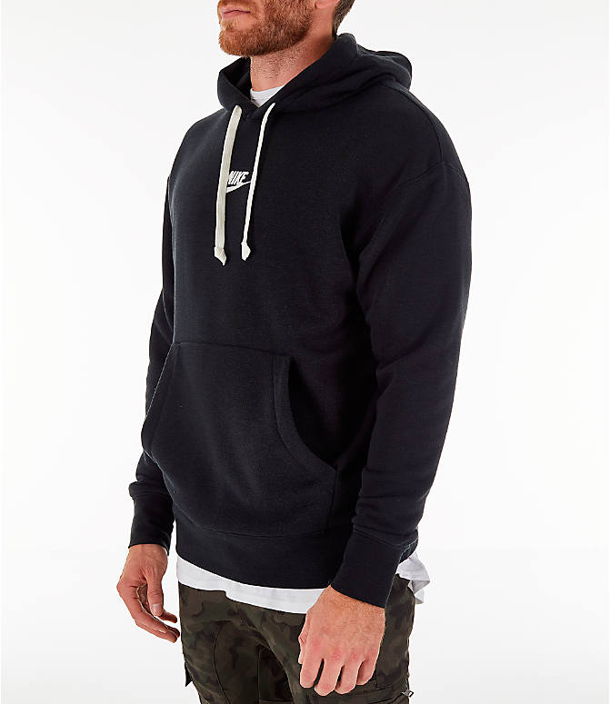 Front Three Quarter view of Men's Nike Sportswear Heritage Club Pullover Hoodie in Black