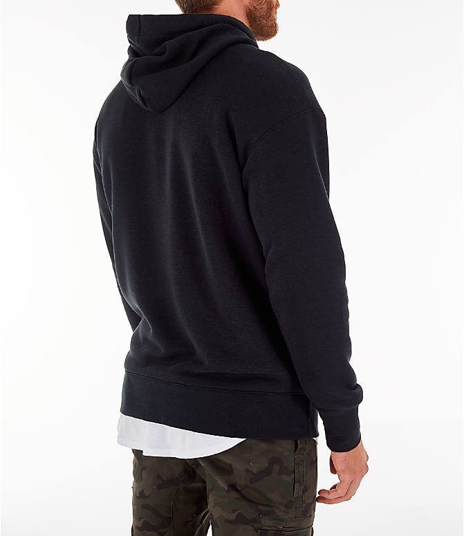 Back Right view of Men's Nike Sportswear Heritage Club Pullover Hoodie in Black