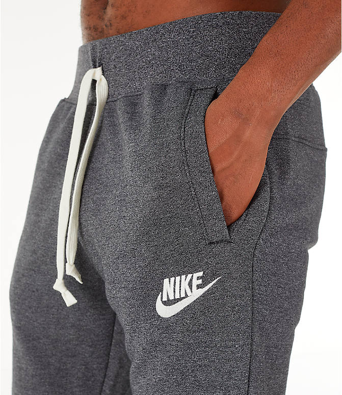 Detail 1 view of Men's Nike Sportswear Heritage Club Cuffed Jogger Pants in Heather Grey